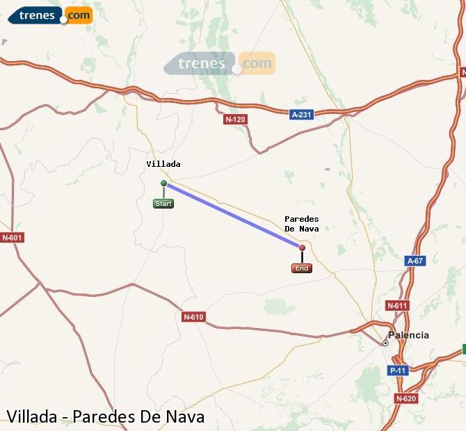 Ingrandisci la mappa Treni Villada Paredes De Nava