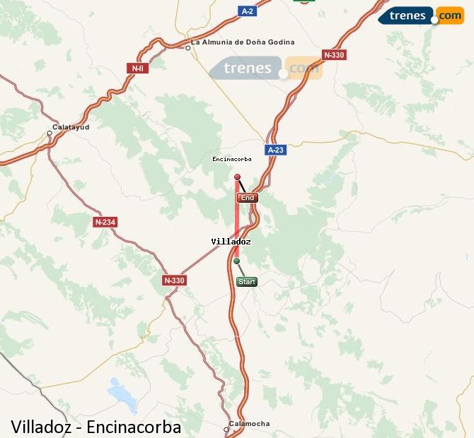 Enlarge map Trains Villadoz to Encinacorba