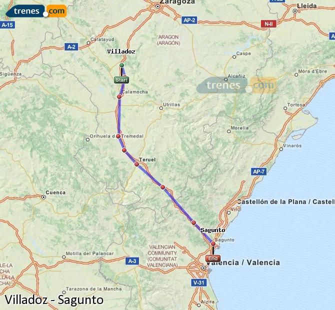 Enlarge map Trains Villadoz to Sagunto