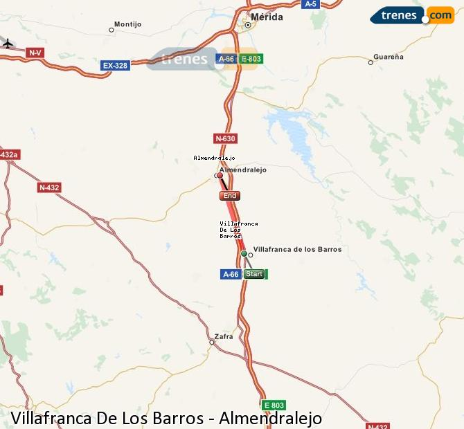 Enlarge map Trains Villafranca De Los Barros to Almendralejo