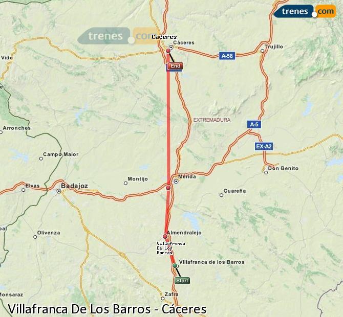 Karte vergrößern Züge Villafranca De Los Barros Cáceres