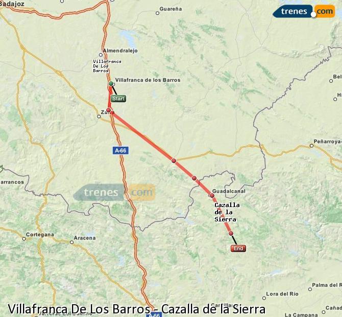 Enlarge map Trains Villafranca De Los Barros to Cazalla de la Sierra