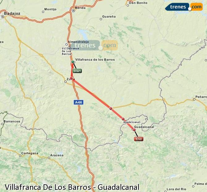 Enlarge map Trains Villafranca De Los Barros to Guadalcanal