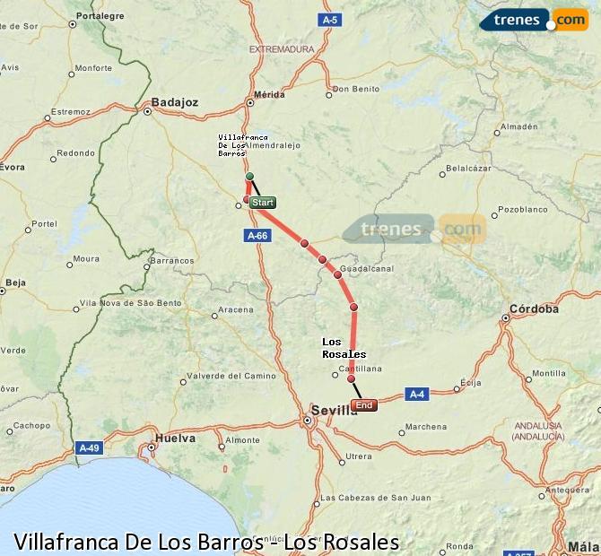 Agrandir la carte Trains Villafranca De Los Barros Los Rosales
