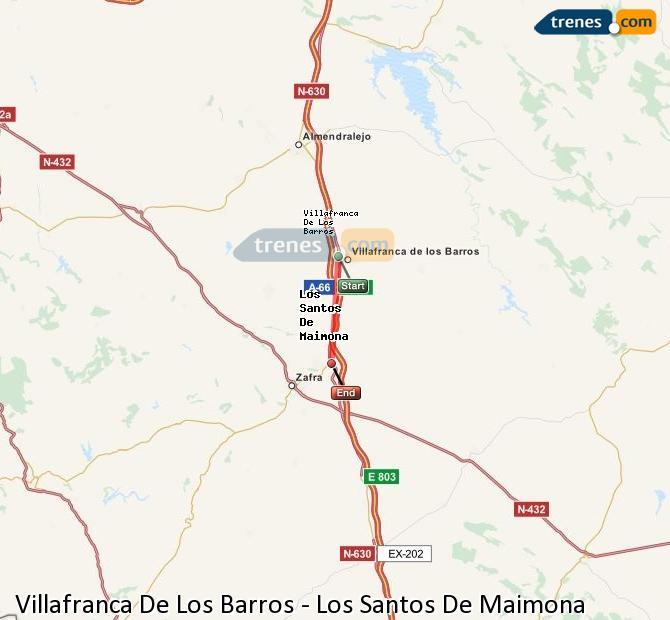 Enlarge map Trains Villafranca De Los Barros to Los Santos De Maimona