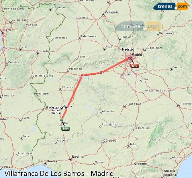 Enlarge map Trains Villafranca De Los Barros to Madrid
