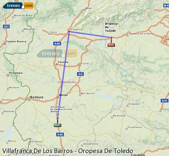 Enlarge map Trains Villafranca De Los Barros to Oropesa De Toledo