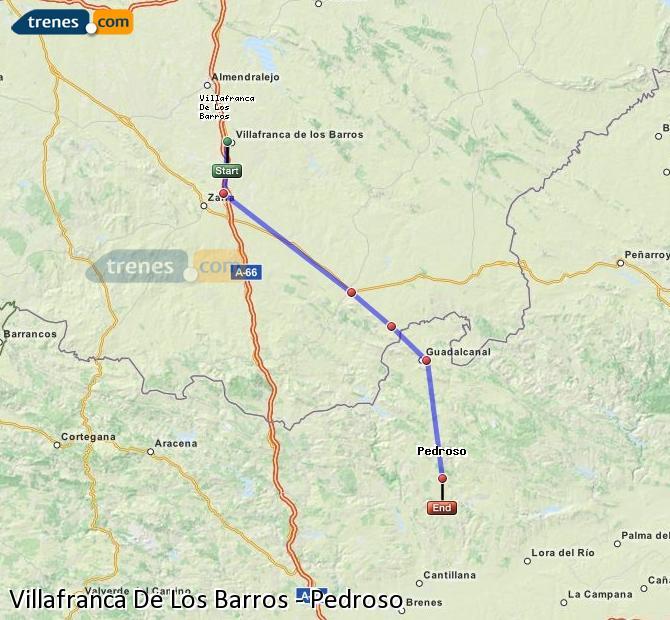 Enlarge map Trains Villafranca De Los Barros to Pedroso