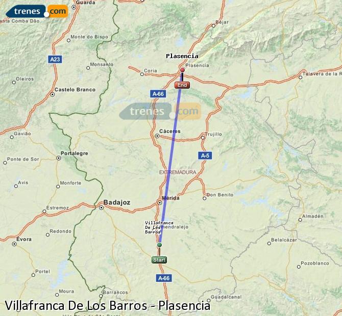 Ingrandisci la mappa Treni Villafranca De Los Barros Plasencia