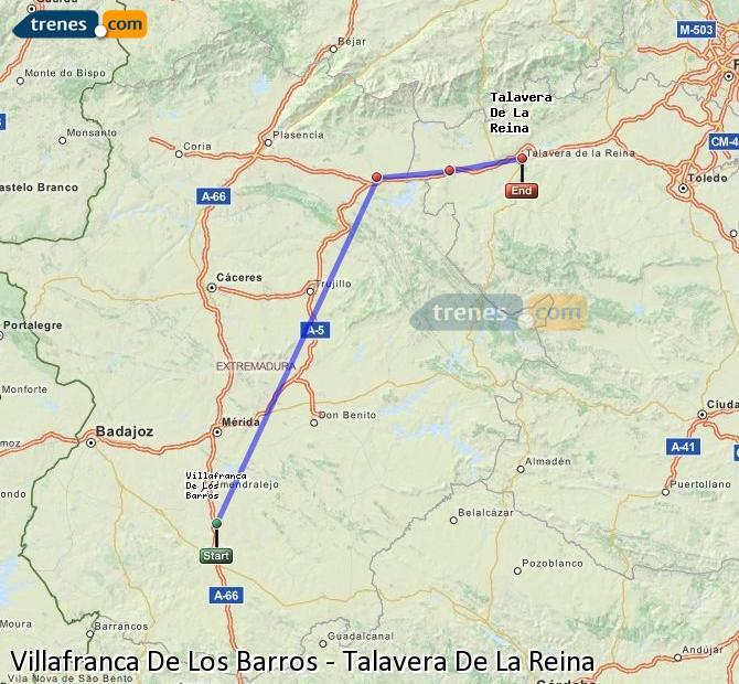 Ampliar mapa Comboios Villafranca De Los Barros Talavera De La Reina