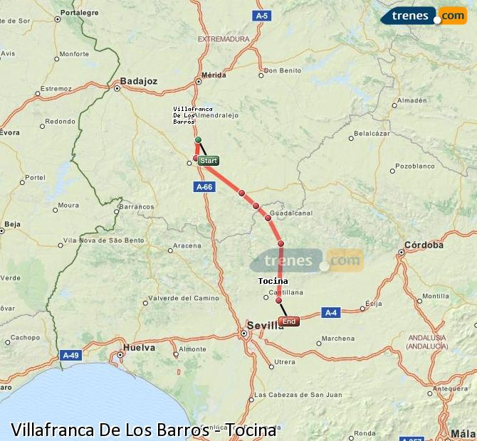 Enlarge map Trains Villafranca De Los Barros to Tocina