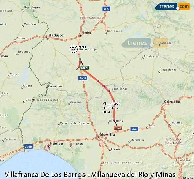 Enlarge map Trains Villafranca De Los Barros to Villanueva del Río y Minas