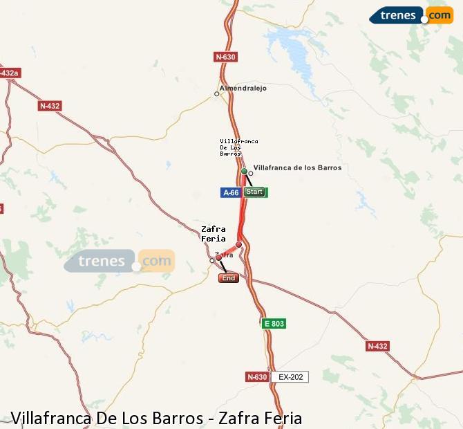 Ingrandisci la mappa Treni Villafranca De Los Barros Zafra Feria