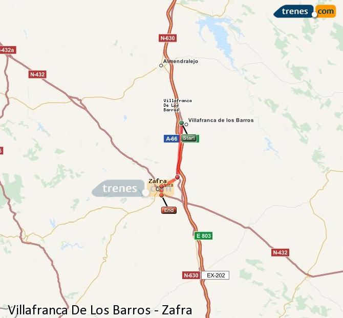 Agrandir la carte Trains Villafranca De Los Barros Zafra