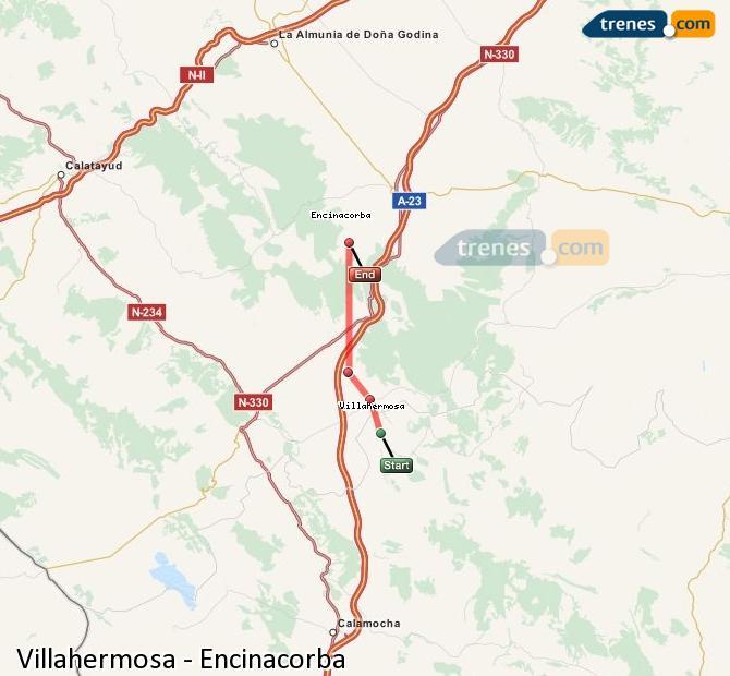Enlarge map Trains Villahermosa to Encinacorba