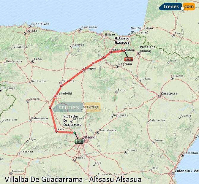 Karte vergrößern Züge Villalba De Guadarrama Altsasu Alsasua