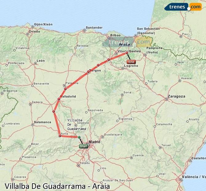 Karte vergrößern Züge Villalba De Guadarrama Araia