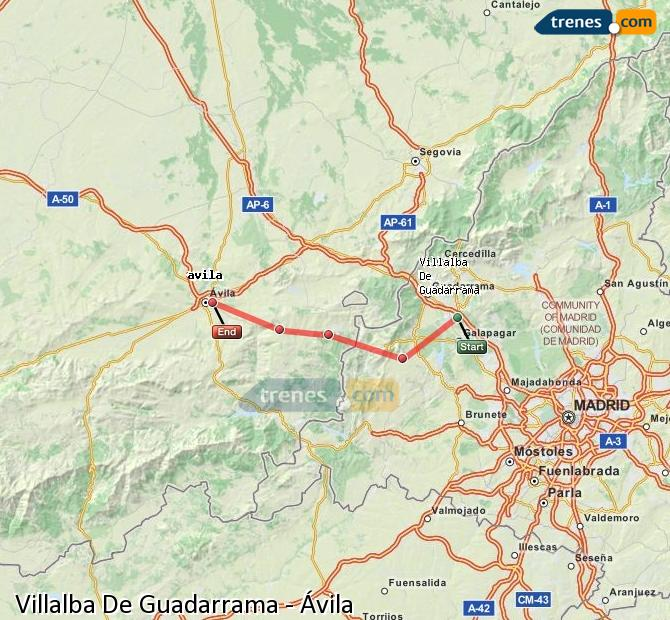 Enlarge map Trains Villalba De Guadarrama to Avila