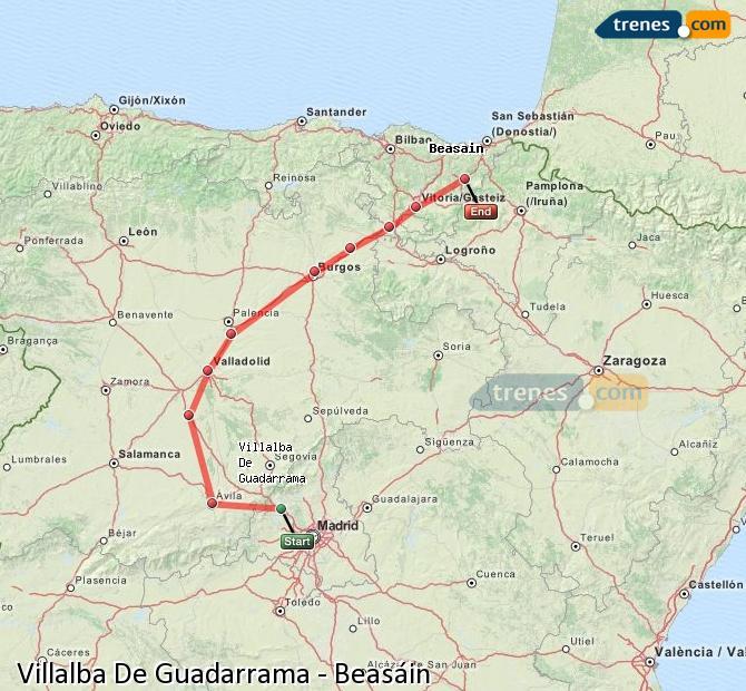 Karte vergrößern Züge Villalba De Guadarrama Beasáin