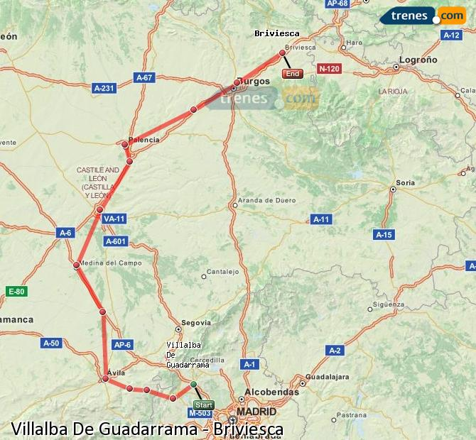 Enlarge map Trains Villalba De Guadarrama to Briviesca