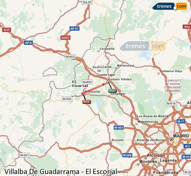 Enlarge map Trains Villalba De Guadarrama to El Escorial