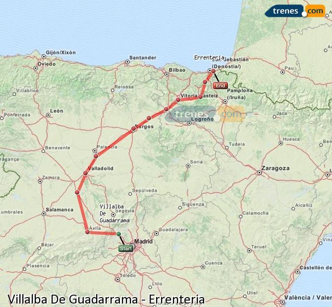 Agrandir la carte Trains Villalba De Guadarrama Errenteria