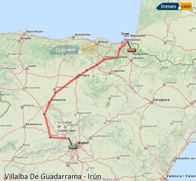 Enlarge map Trains Villalba De Guadarrama to Irun