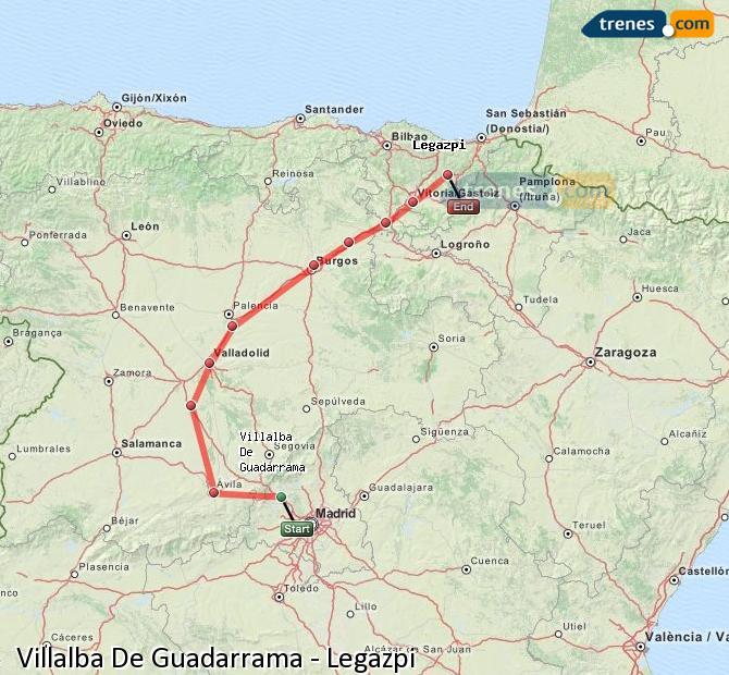 Karte vergrößern Züge Villalba De Guadarrama Legazpi