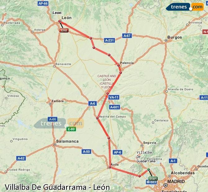 Enlarge map Trains Villalba De Guadarrama to Lion
