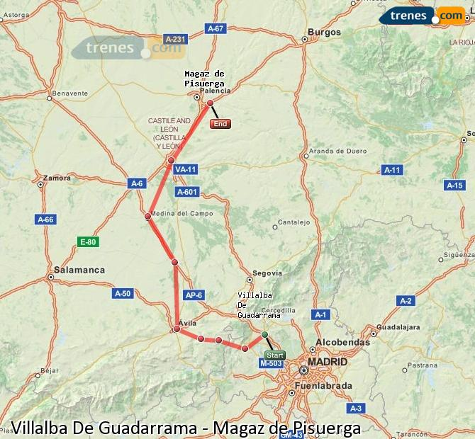 Enlarge map Trains Villalba De Guadarrama to Magaz de Pisuerga