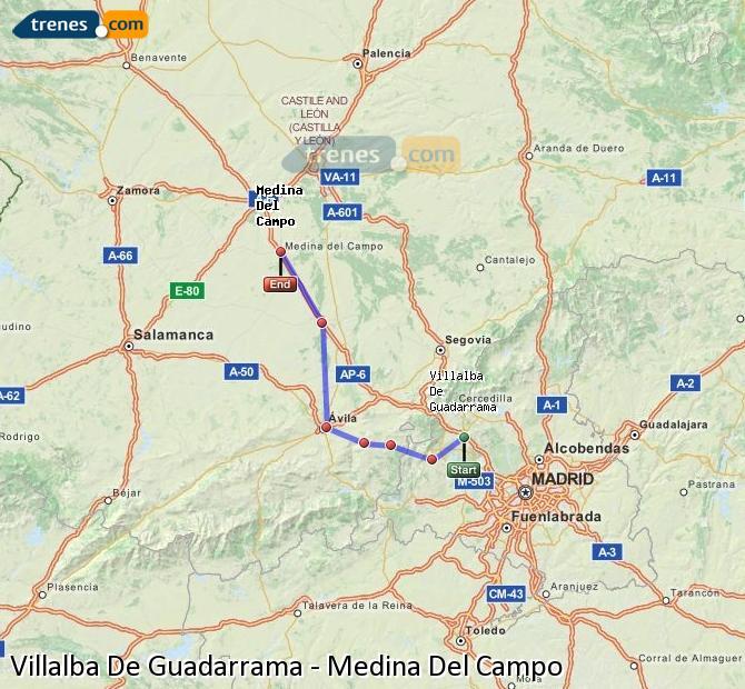 Agrandir la carte Trains Villalba De Guadarrama Medina Del Campo
