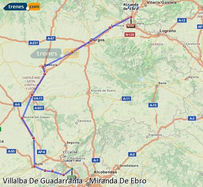 Karte vergrößern Züge Villalba De Guadarrama Miranda De Ebro