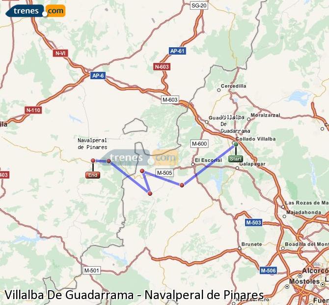 Karte vergrößern Züge Villalba De Guadarrama Navalperal de Pinares