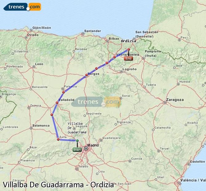 Ingrandisci la mappa Treni Villalba De Guadarrama Ordizia