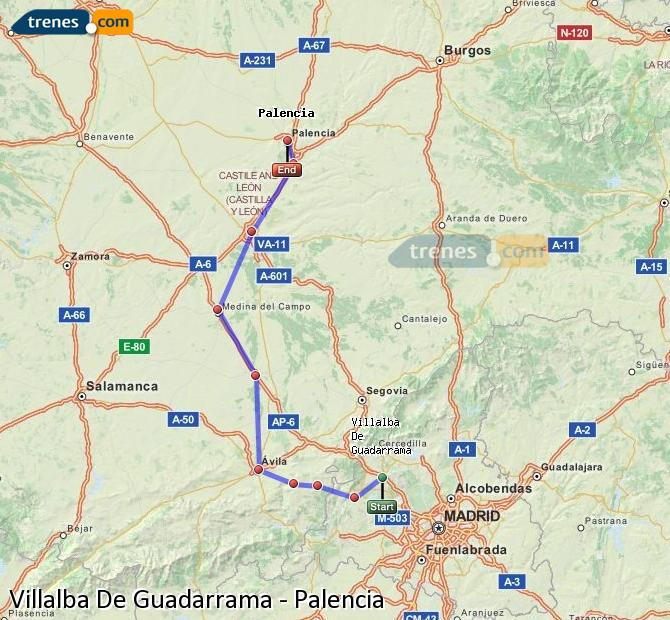 Enlarge map Trains Villalba De Guadarrama to Palencia