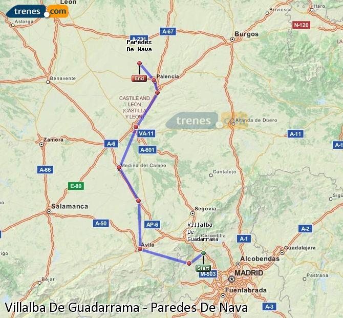 Ampliar mapa Trenes Villalba De Guadarrama Paredes De Nava