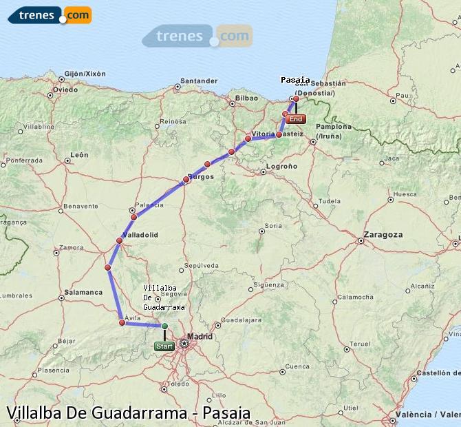 Karte vergrößern Züge Villalba De Guadarrama Pasaia