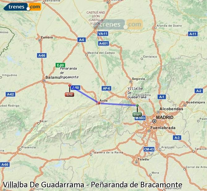 Karte vergrößern Züge Villalba De Guadarrama Peñaranda de Bracamonte