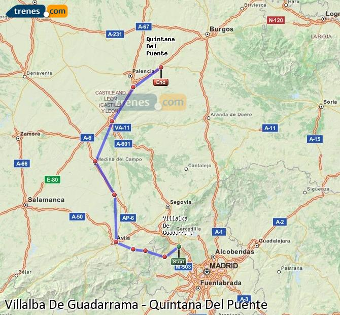 Enlarge map Trains Villalba De Guadarrama to Quintana Del Puente