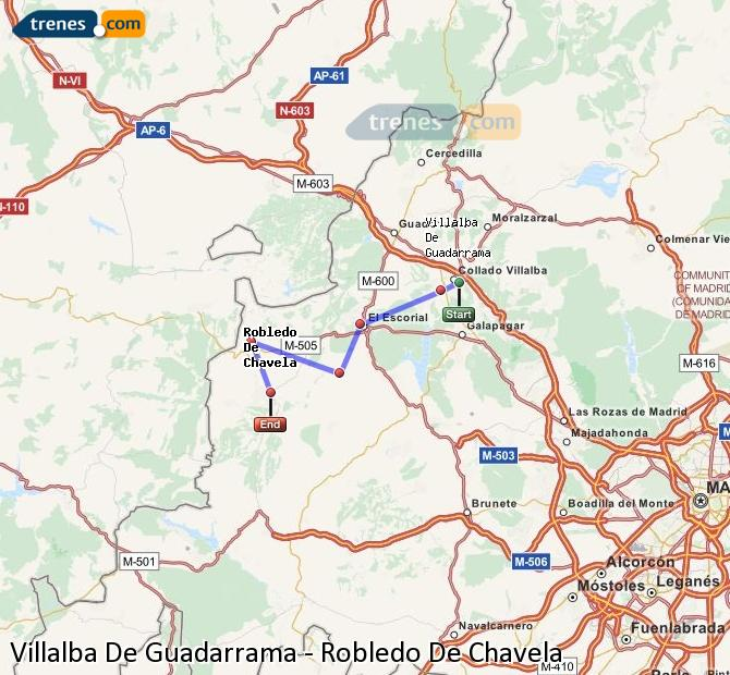 Enlarge map Trains Villalba De Guadarrama to Robledo De Chavela