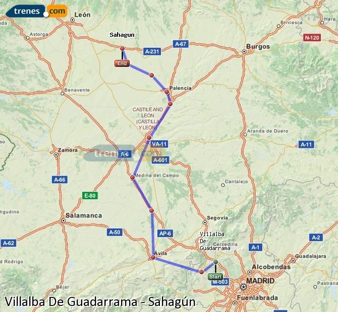 Ingrandisci la mappa Treni Villalba De Guadarrama Sahagún