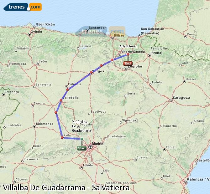 Karte vergrößern Züge Villalba De Guadarrama Salvatierra