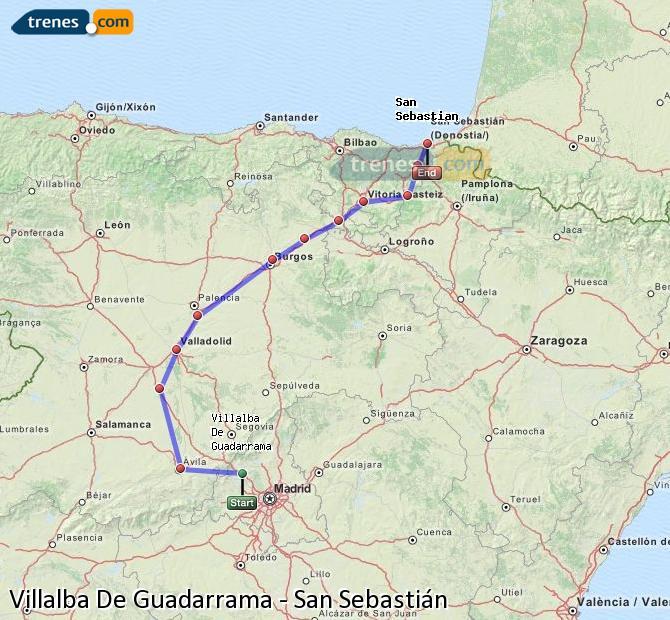 Ingrandisci la mappa Treni Villalba De Guadarrama San Sebastián