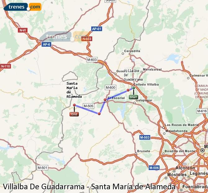 Enlarge map Trains Villalba De Guadarrama to Santa Maria de Alameda