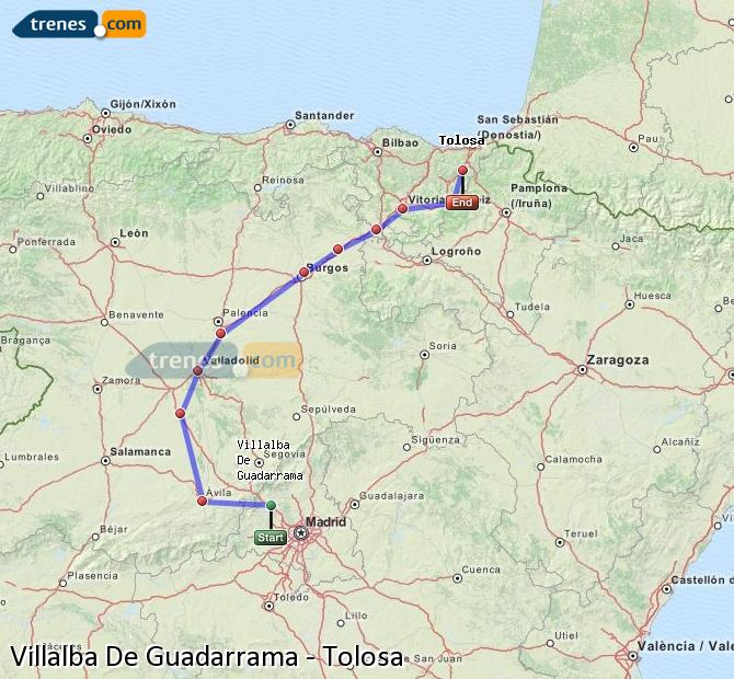 Enlarge map Trains Villalba De Guadarrama to Tolosa