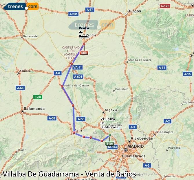 Karte vergrößern Züge Villalba De Guadarrama Venta de Baños