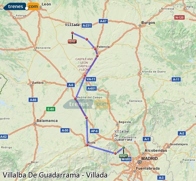 Agrandir la carte Trains Villalba De Guadarrama Villada