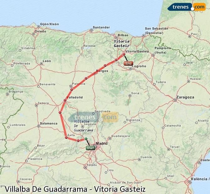 Karte vergrößern Züge Villalba De Guadarrama Vitoria Gasteiz