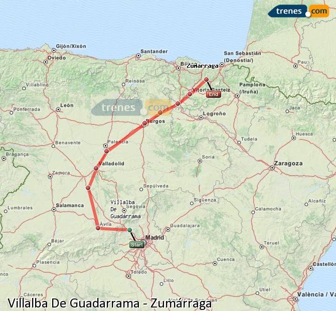 Enlarge map Trains Villalba De Guadarrama to Zumarraga