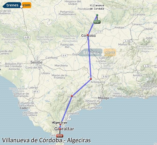 Karte vergrößern Züge Villanueva de Córdoba Algeciras